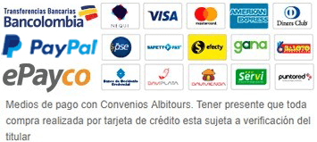 Medios de pago con Convenios Albitours. Tener presente que toda compra realizada por tarjeta de crédito esta sujeta a verificación del titular.